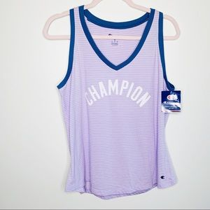 Champion Tops - NWT Champion Purple Striped Ringer Vneck Tank